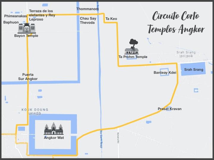 mapa circuito corto de Angkor