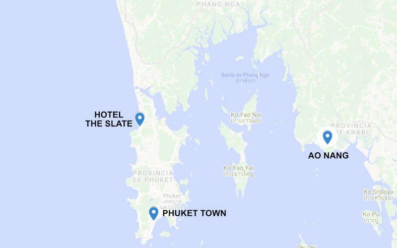 Mapa de Phuket y Ao Nang