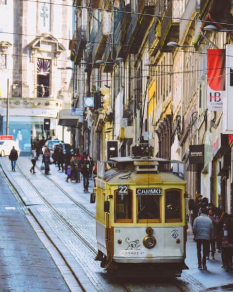 Calles de Oporto con el tranvía