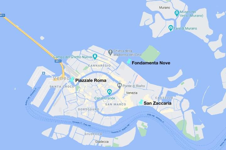 Mapa con los lugares desde los que ir