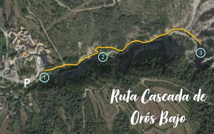 Mapa de la ruta a la cascada de Orós Bajo