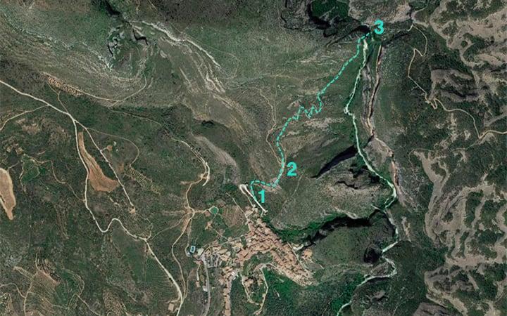 Mapa para llegar al puente de Villacantal