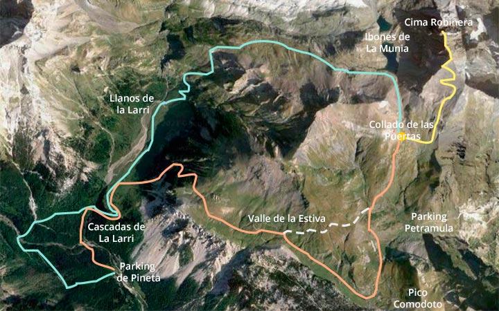 Mapa de la ruta seguida para subir al pico Robiñera