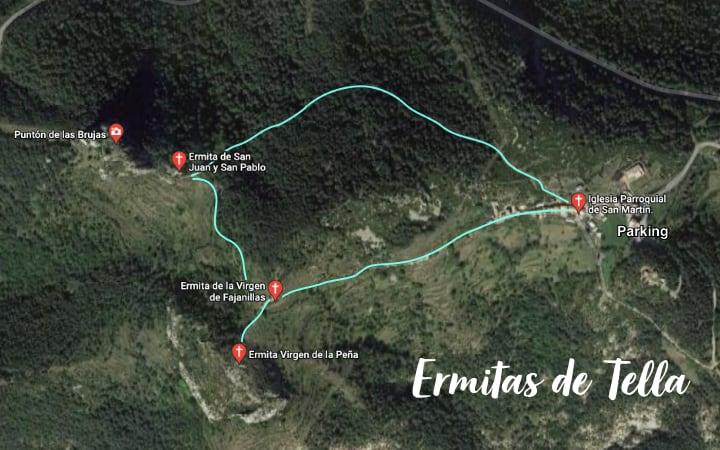 Mapa ruta ermitas de Tella