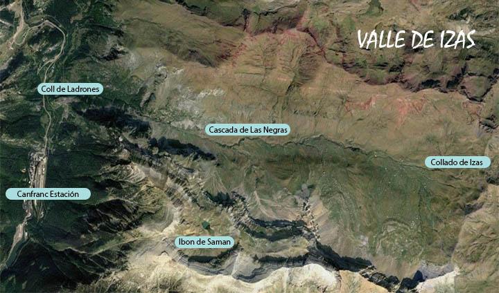 Mapa del Valle de Izas